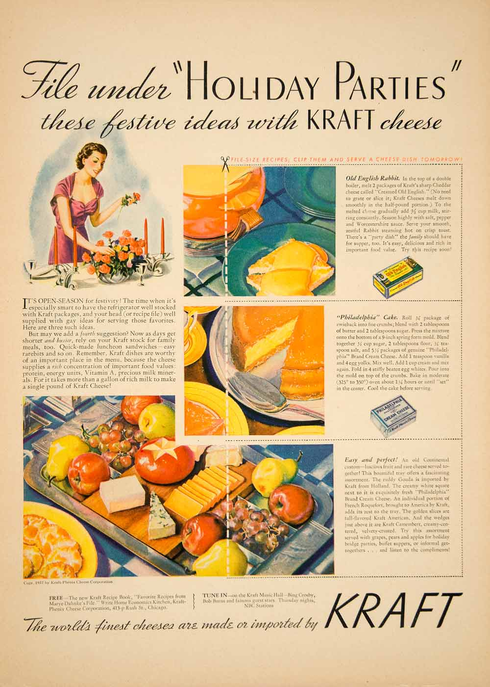 1937 Ad American Philadelphia Cream Kraft Cheese Holiday Party Spread Host YHM3