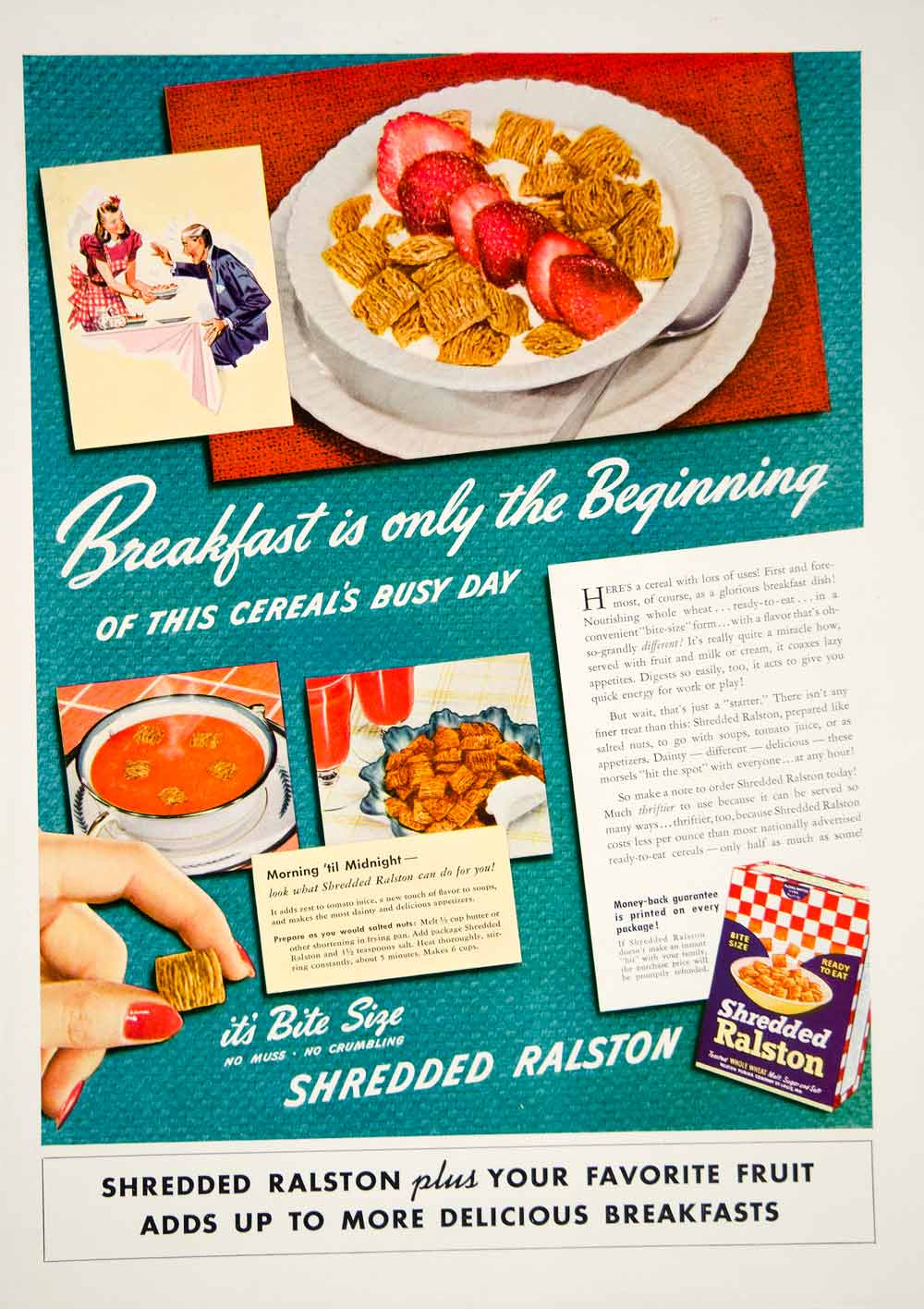 1941 Ad Shredded Ralston Breakfast Cereal Bite Size Wheat Soup Snack Fruit YHM3