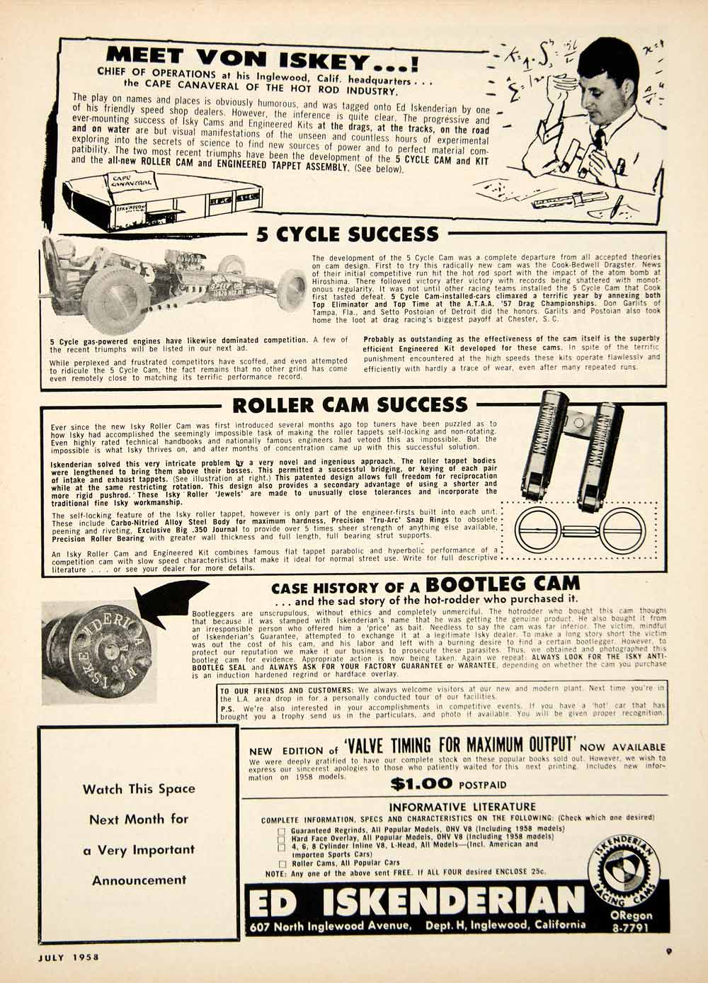 1958 Ad Ed Iskenderian 607 North Inglewood Avenue 5 Cycle Roller Cam YHR1