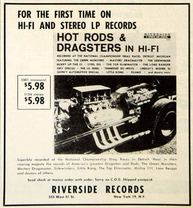1959 Ad Riverside Records Hot Rod Dragster LP Records 533 West 51st Street YHR1