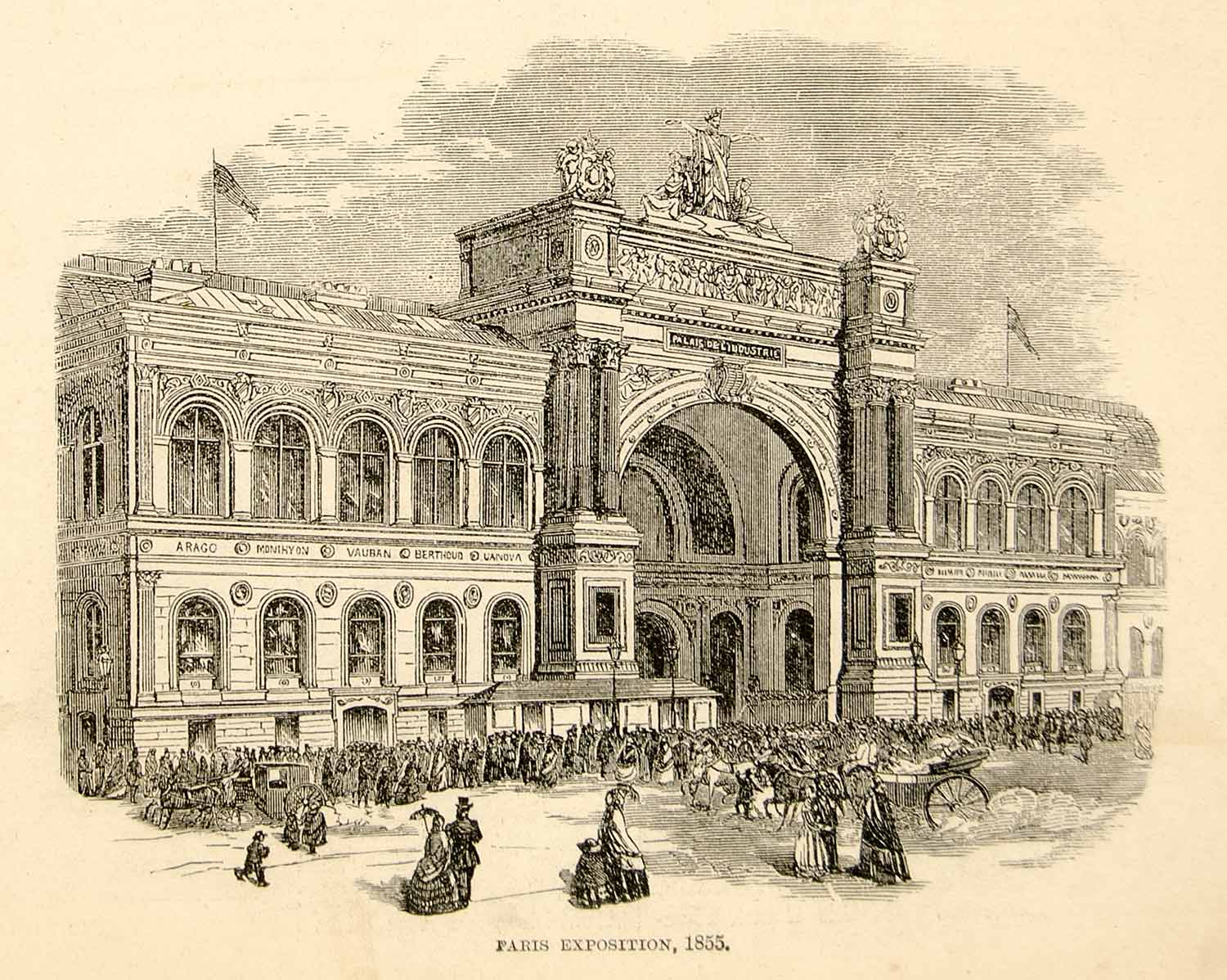 1876 Wood Engraving Paris Exposition Universelle Palais D'Industrie YHR2