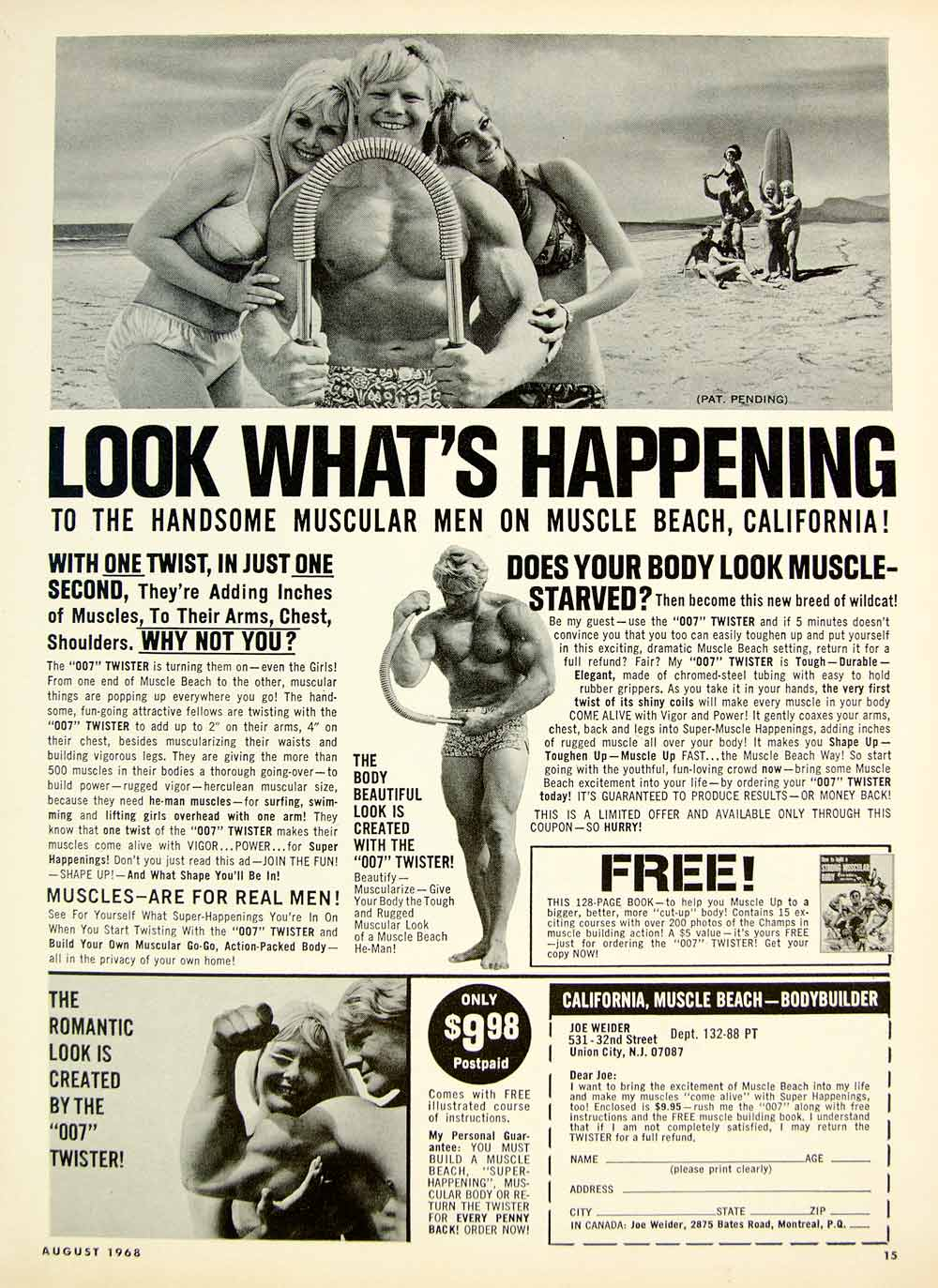 8aff9c490b 1968 Ad Vintage Joe Weider Bodybuilder 007 Twister Muscle Beach CA Fit -  Period Paper