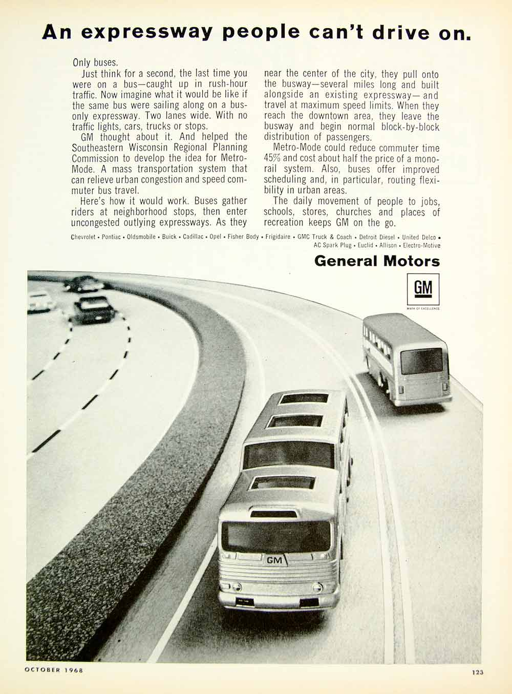 1968 Ad General Motors Metro Mode Expressway Highway Commuter Bus Lanes GM YHR3