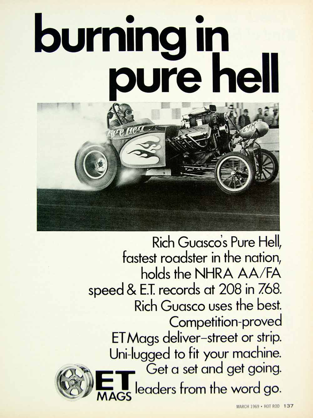 1969 Ad Vintage ET Mag Wheels Rich Guasco Pure Hell Roadster Drag Racing YHR3