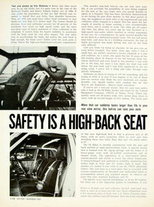 1969 Article Car Seat Belts Head Restraint Motor Vehicle Safety Act 1966 YHR3