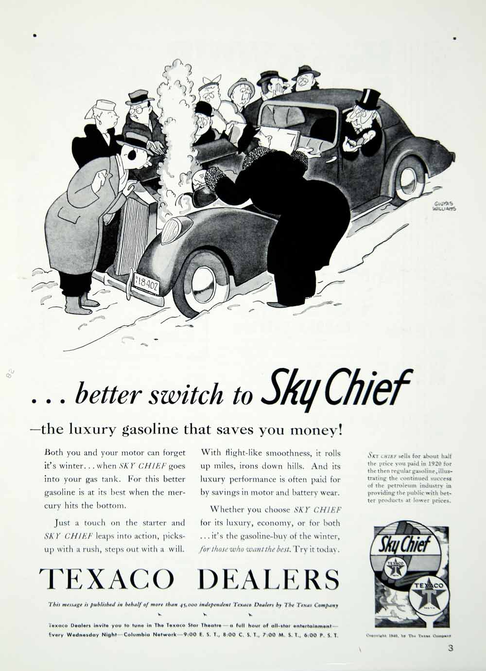 1940 Ad Texaco Dealers Sky Chief Gasoline Petroleum Gluyas Williams YHT1