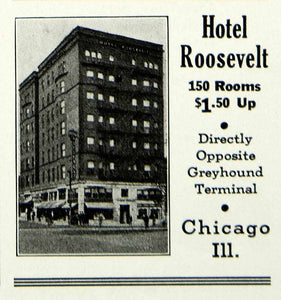 1934 Ad Hotel Roosevelt Chicago Greyhound Terminal Lodging Illinois YHT1