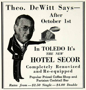 1934 Ad Theo DeWitt Toledo Hotel Secor Parisian Cocktail Bar Coffee Shop YHT1