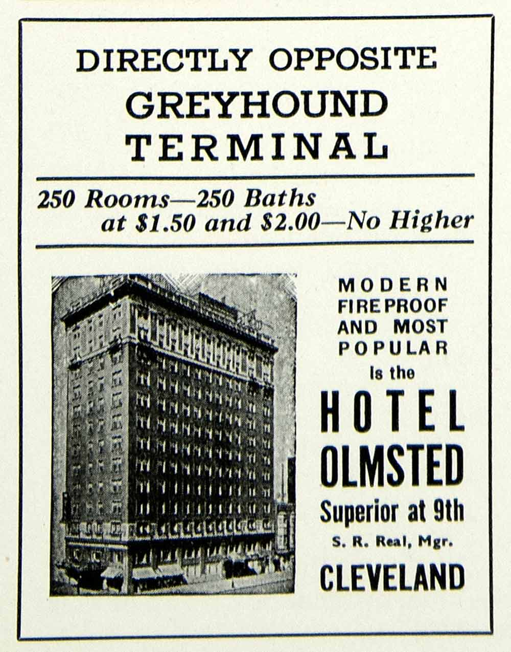 1934 Ad Hotel Olmsted Cleveland Greyhound Terminal S  Real Ohio Lodging YHT1
