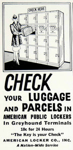 1939 Ad American Locker Co Inc Luggage Parcels Greyhound Terminals Public YHT1