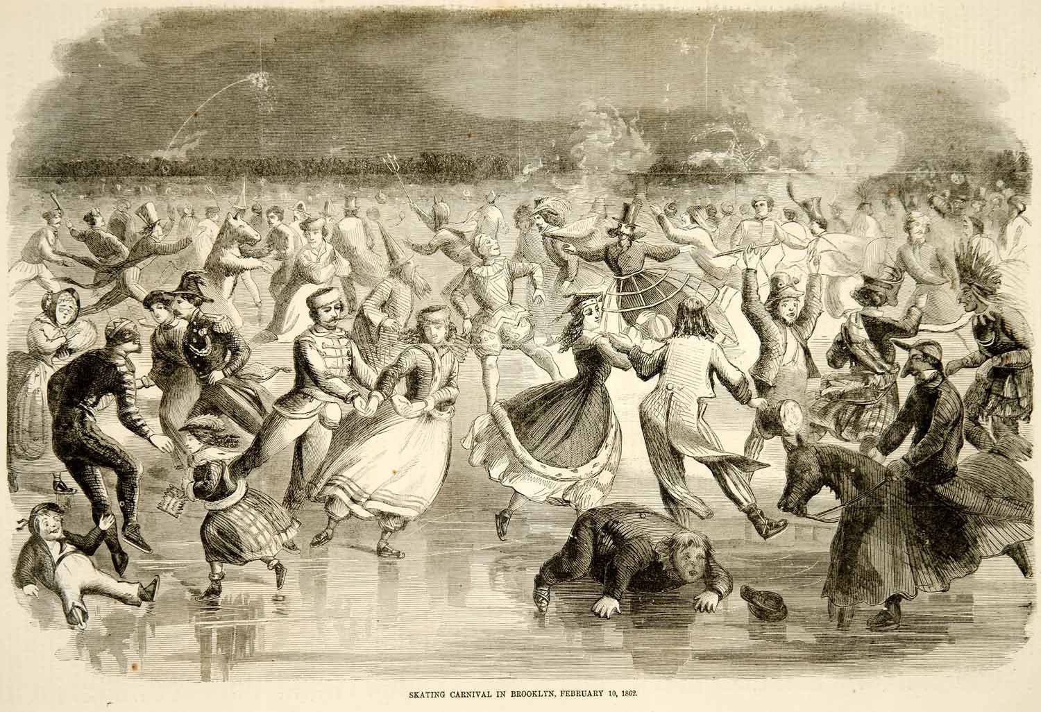 1862 Wood Engraving Ice Skating Carnival Brooklyn NY Costume Party YHW2 - Period Paper