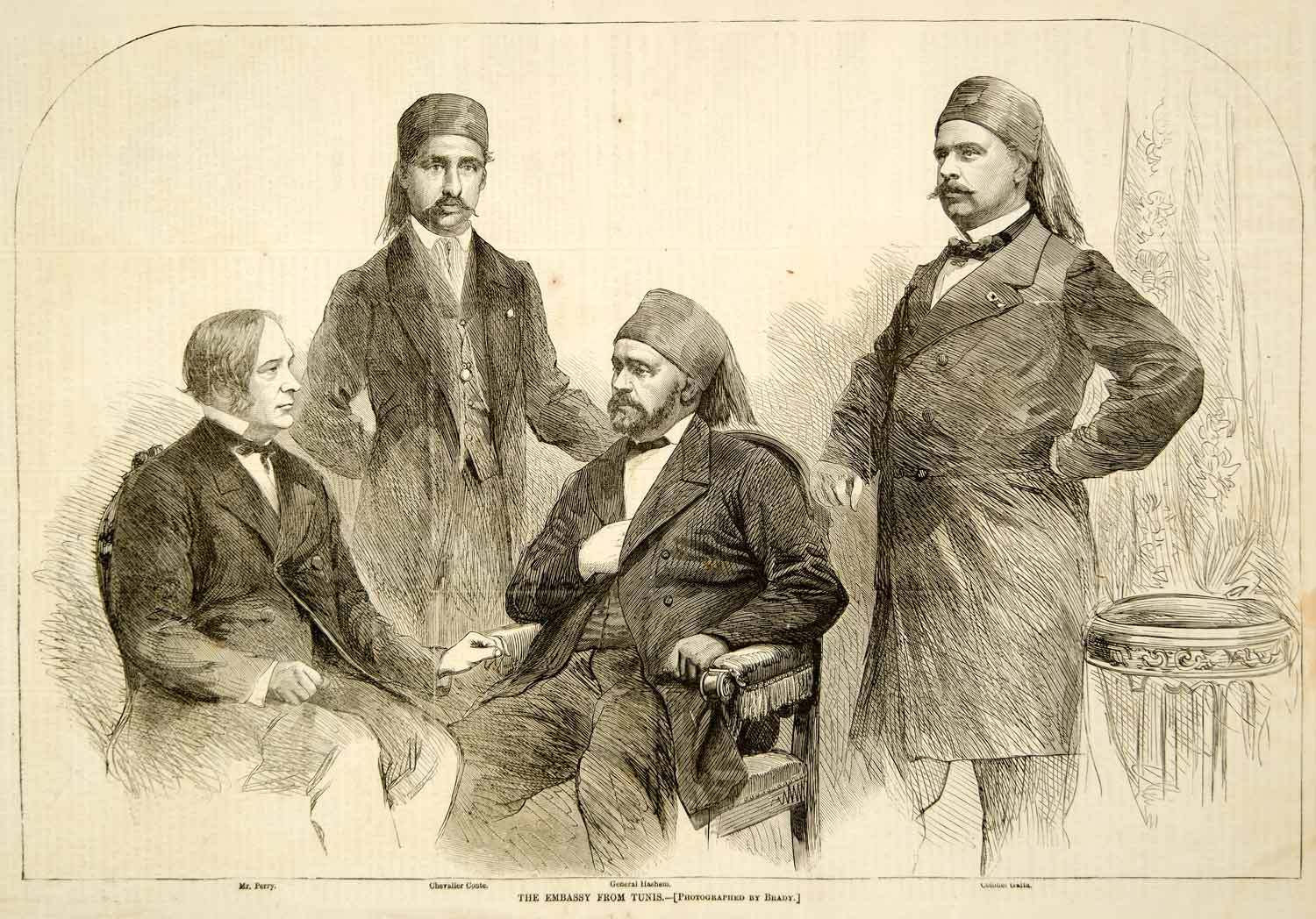 1865 Wood Engraving Embassy Tunisian Perry Chevalier Conte General Hashem YHW3