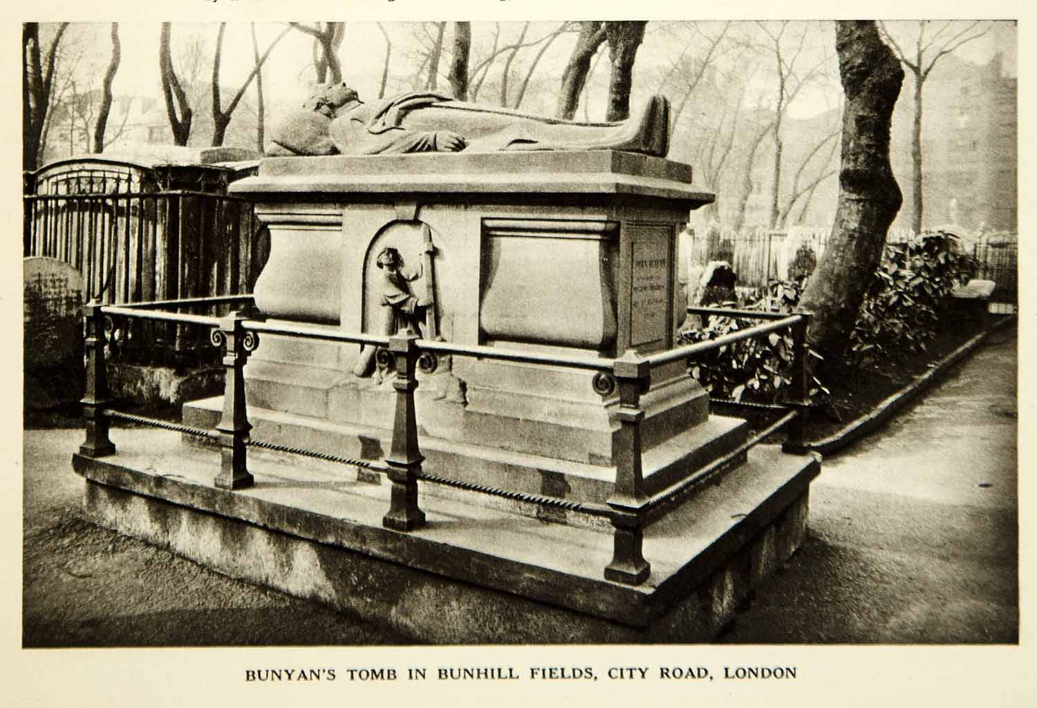1928 Rotogravure John Bunyan Tomb Bunhill Fields City Road London Memorial YJB1