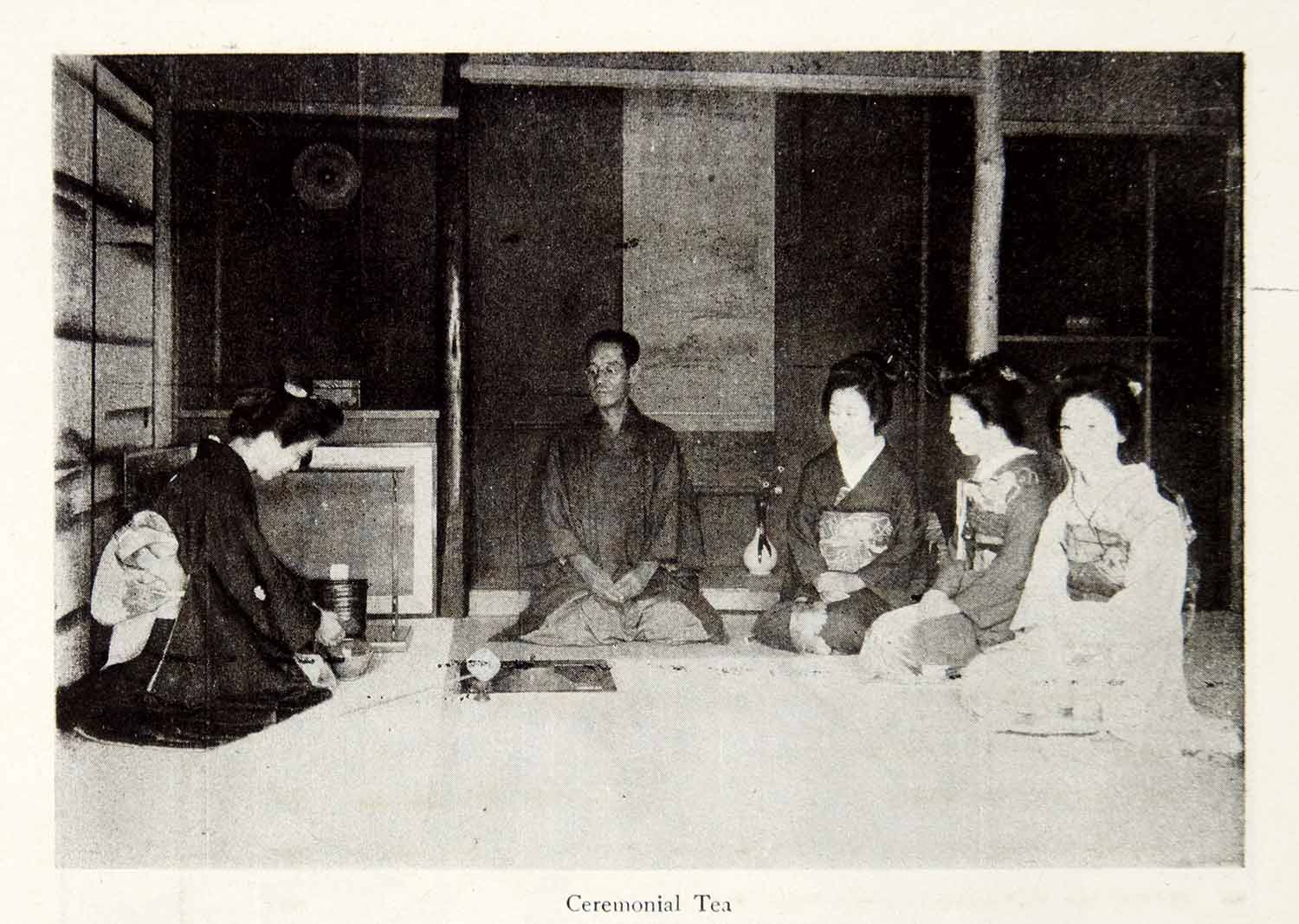 1921 Print Japanese Tea Ceremony Formal Indoor Traditional Hostess Guest  YJM1