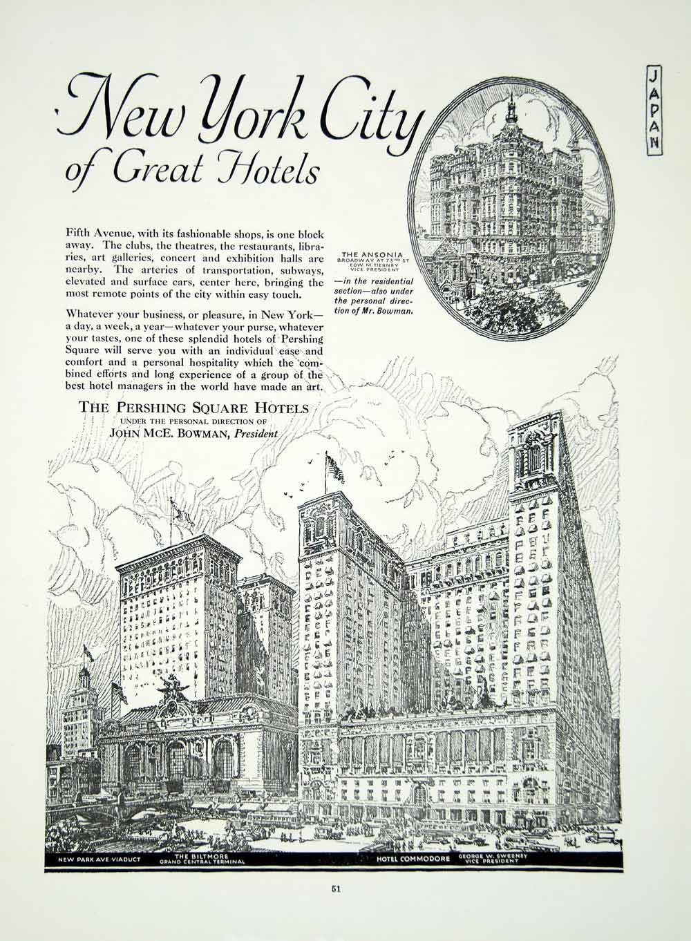 1921 Ad Pershing Square New York City World Center Hotels Architecture YJM2