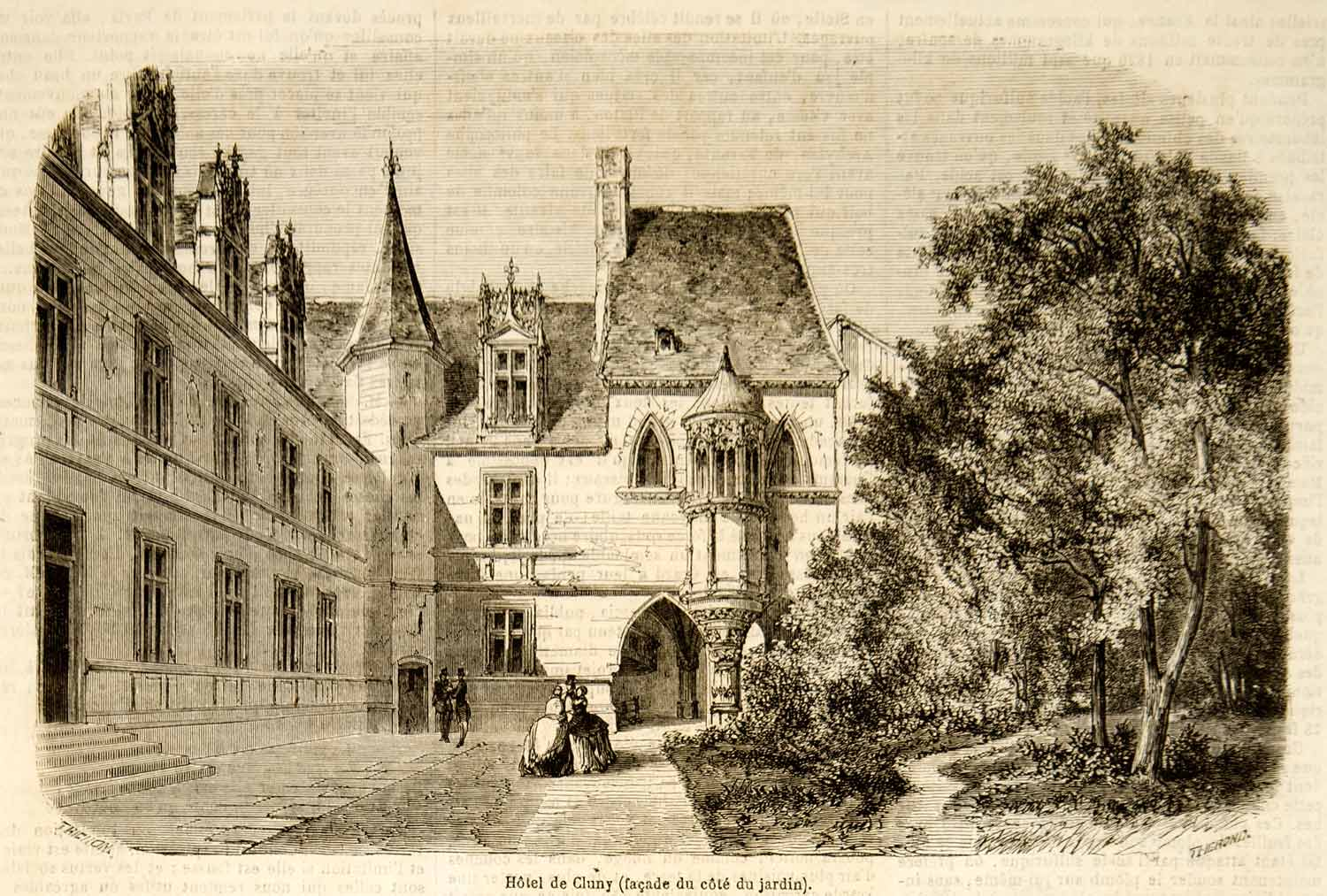 1857 Wood Engraving Hotel Cluny Architecture Medieval Museum Paris YJPT1