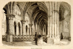 1857 Wood Engraving Interior Saint Severin Church Paris Architecture YJPT1
