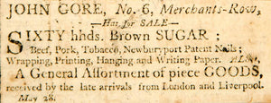 1798 Ad John Gore Merchant Row Boston Brown Sugar Agriculture Produce Crop YJR1