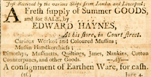 1798 Ad Fresh Supply Summer Good Produce Edward Haynes Boston Textile YJR1