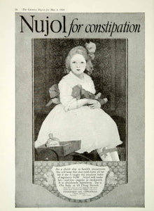 1918 Ad Nujol Constipation Medicine Child Doll Standard Oil Company New YLD1