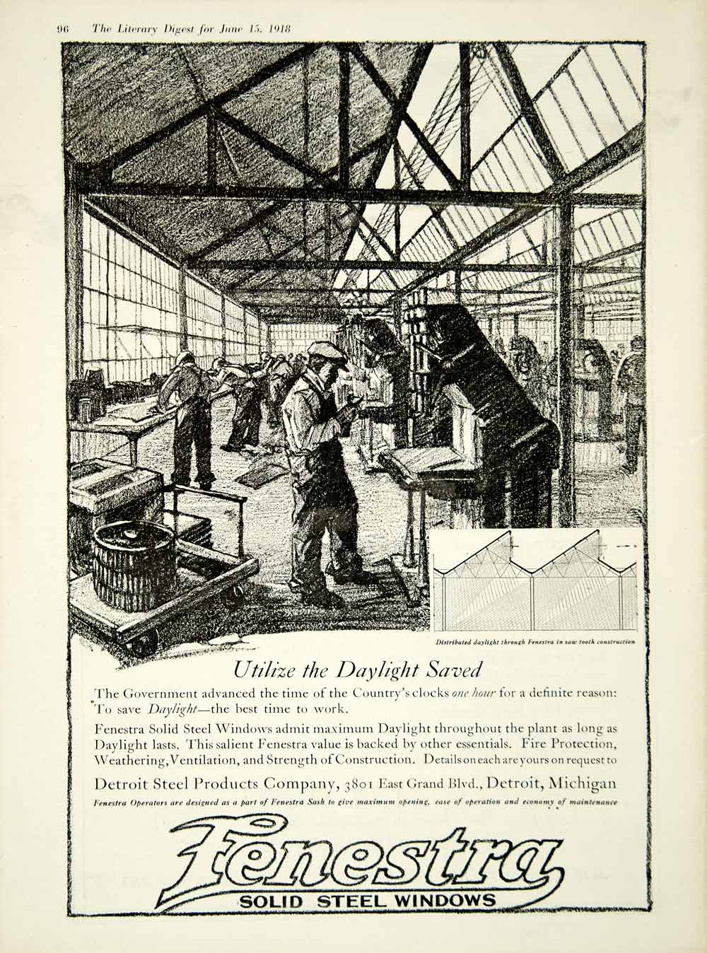 Merchandise & Memorabilia 1910-19 Detroit Steel Products Company Advertisement 1916 Fenestra Steel Windows