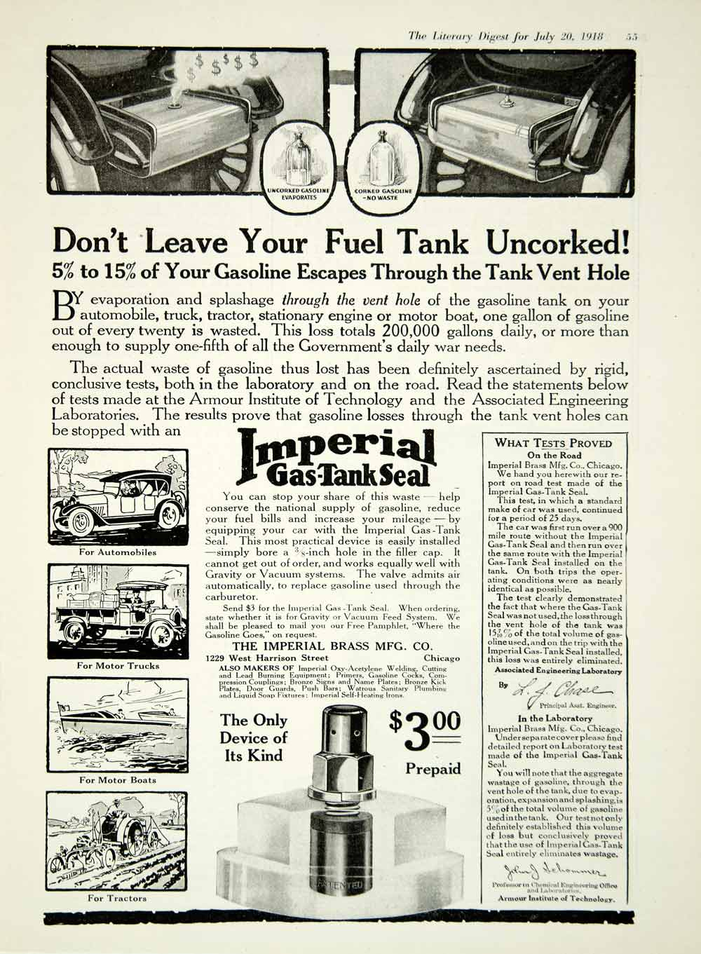 1918 Ad Gas Tank Seal Imperial Brass Manufacturing Company Chicago Illinois  YLD1