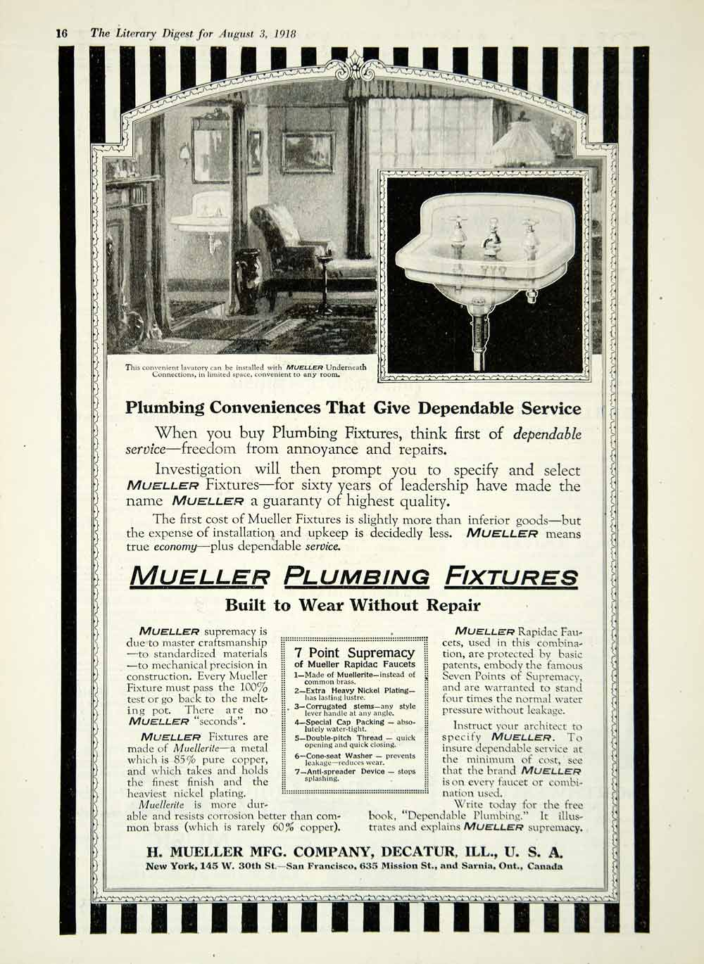 1918 Ad Plumbing Fixtures H. Mueller Manufacturing Company Rapidac Faucets YLD1