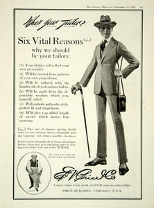 1918 Ad Ed Price Company Tailors Man Cane Suit Trousers Hat Tie Chicago YLD1
