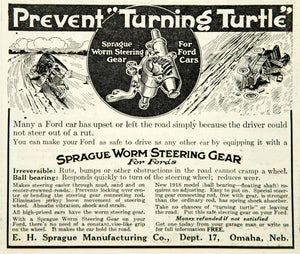 1918 Ad Sprague Worm Steering Gear Ford Cars Manufacturing Company Omaha NE YLD1