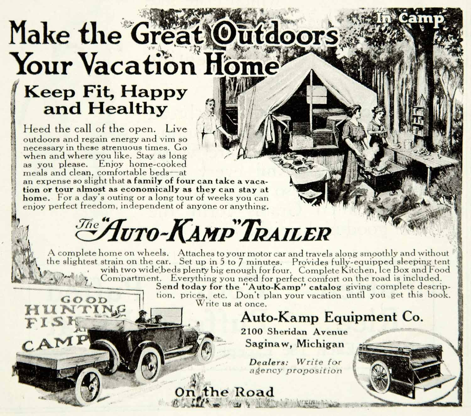 1918 Ad Auto Kamp Equipment Company Trailer Camping Tent Vehicle Vacation  YLD1
