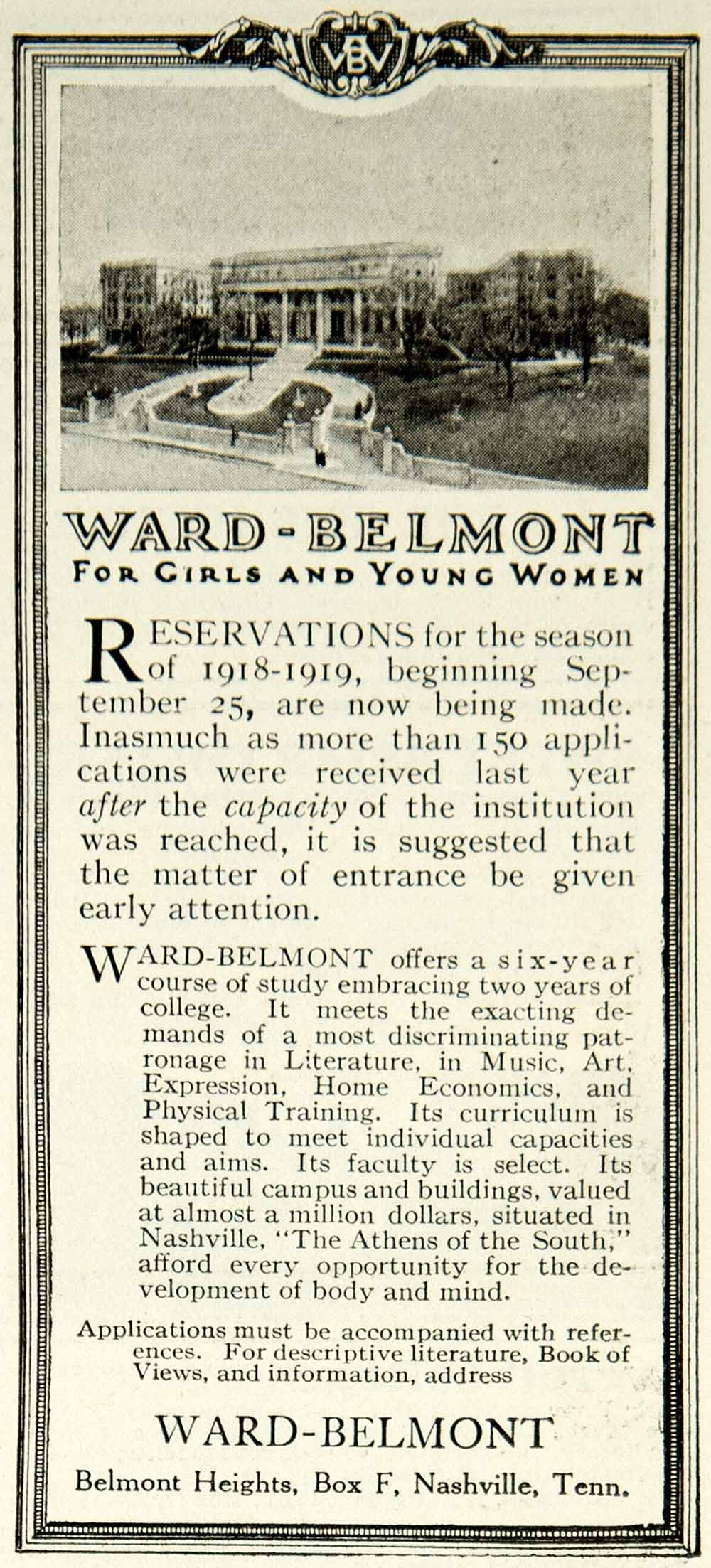 1918 Ad Ward Belmont Girl Women Boarding School Nashville TN Education YLD1