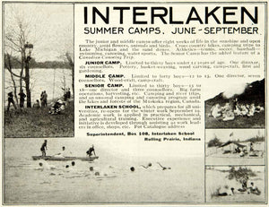 1918 Ad Interlaken Summer Camp School Rolling Prairie Indiana Trees Lake YLD1