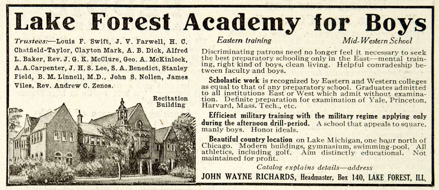 1918 Ad Lake Forest Academy Boys Military College Preparatory School YLD1