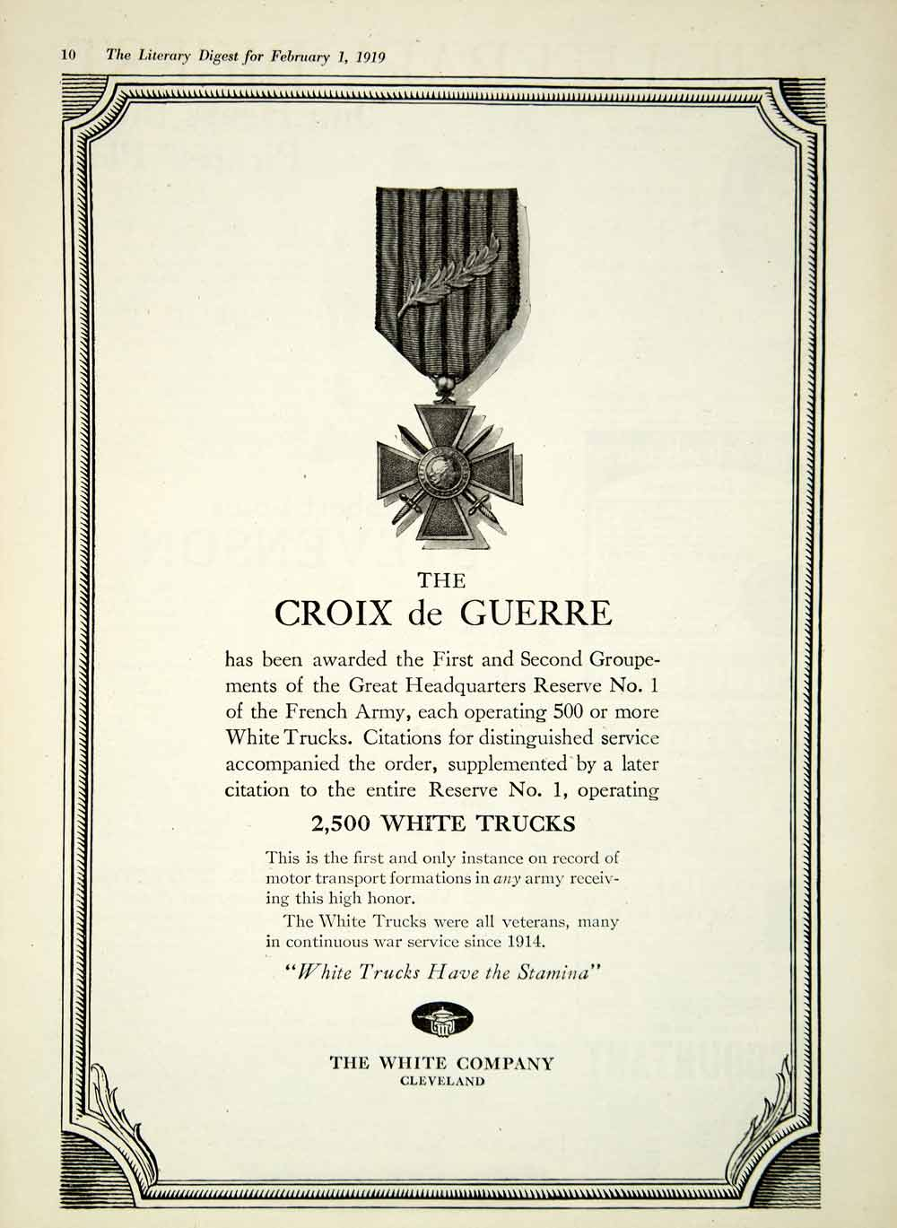 1919 Ad White Trucks Cleveland OH Croix De Guerre WWI French Army Military YLD2