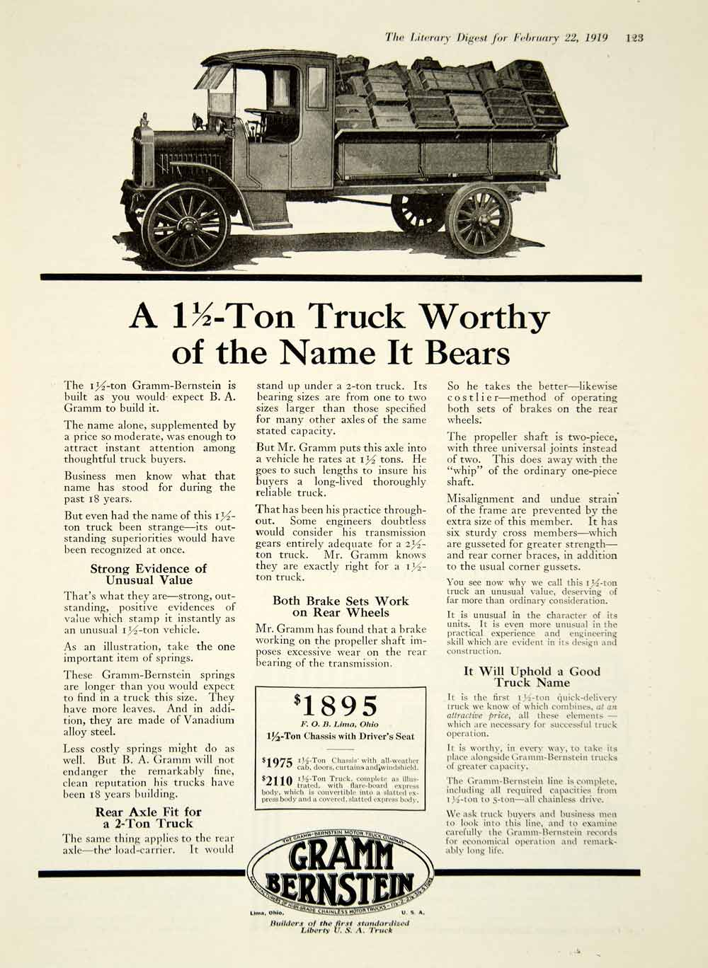 1919 Ad Gramm Bernstein 1 Ton Quick Delivery Truck Model Transportation YLD2