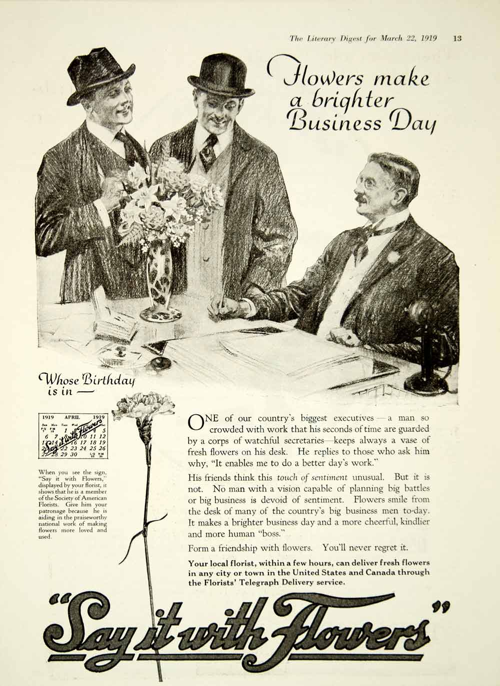 1919 Ad Society American Florists Say It With Flowers Businessman Bouquet YLD2