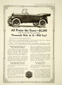 1919 Ad Essex Motors Detroit MI 4 Door Open Touring Automobile YLD2