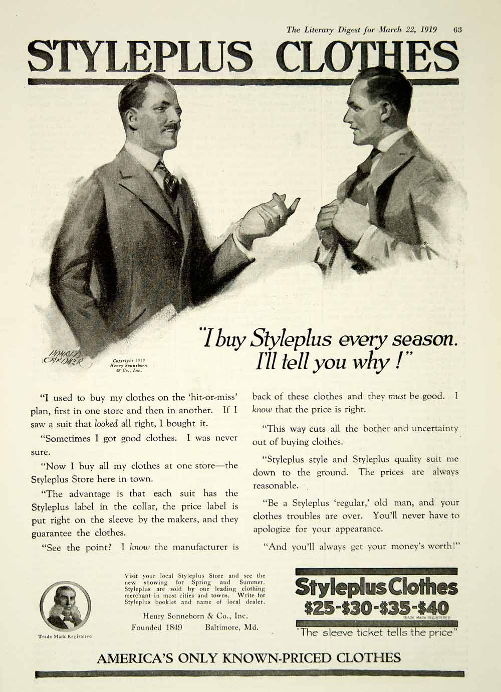 1919 Ad Styleplus Clothes Henry Sonneborn Baltimore MD Donald Gardner Art YLD2