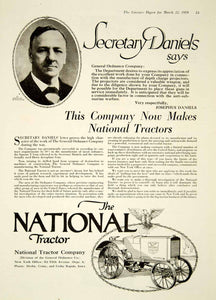 1919 Ad National Tractor Josephus Daniels 512 Fifth Ave NY Agriculture YLD2