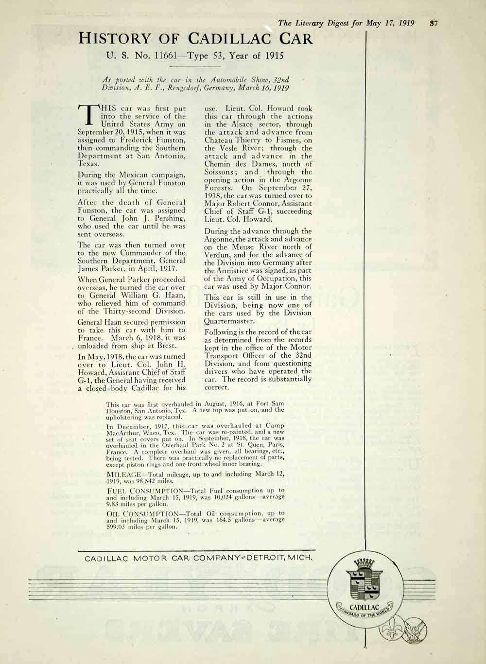 1919 Ad Cadillac Motor Car Detroit MI History Automobile Luxury WWI 32d YLD2