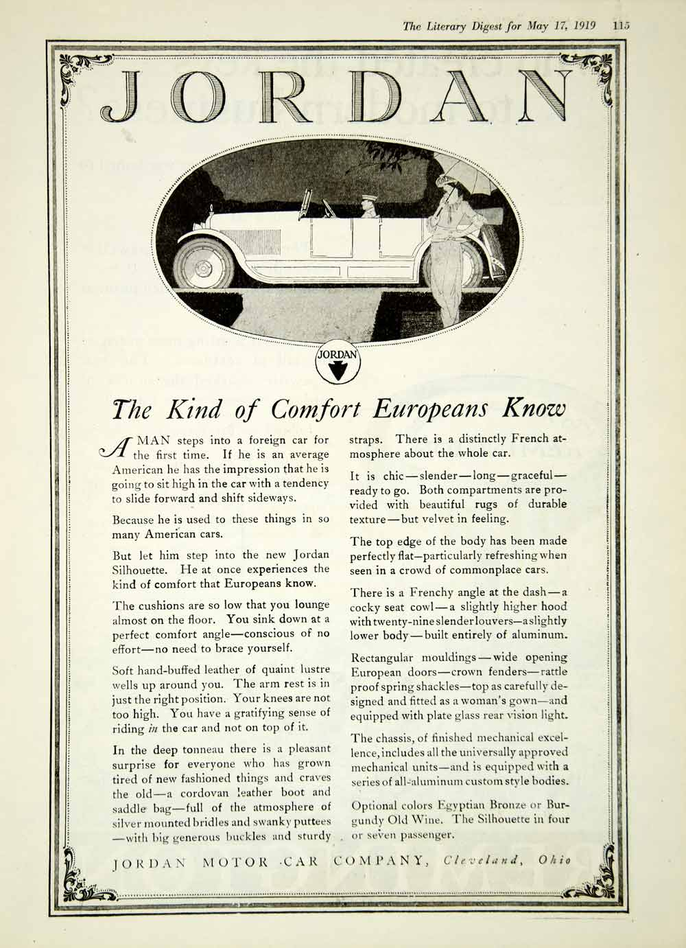 1919 Ad Jordan Motor Car Cleveland OH 4 Door Open Touring Luxury Silhouette YLD2