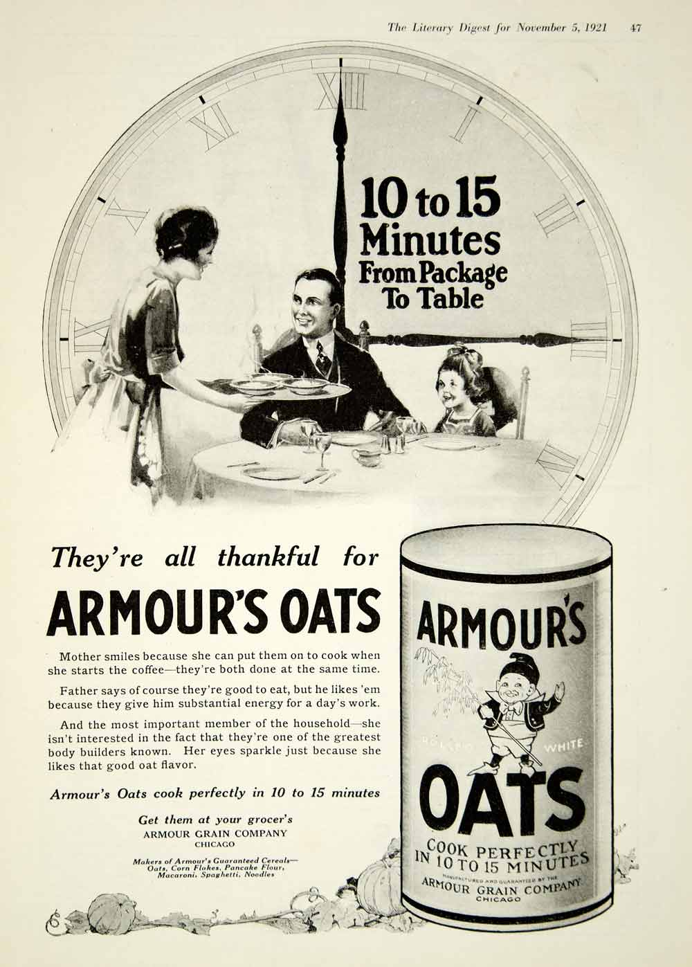 1921 Ad Armour's Oats Cereal Porridge Dad Daughter Table Breakfast Mother YLD3