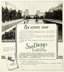 1921 Ad Travel Vacation San Diego California Architecture Azure Seas Pool YLD3