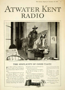 1925 Ad Atwater Kent Radio Model 20 Compact James Montgomery Flagg Art YLD4