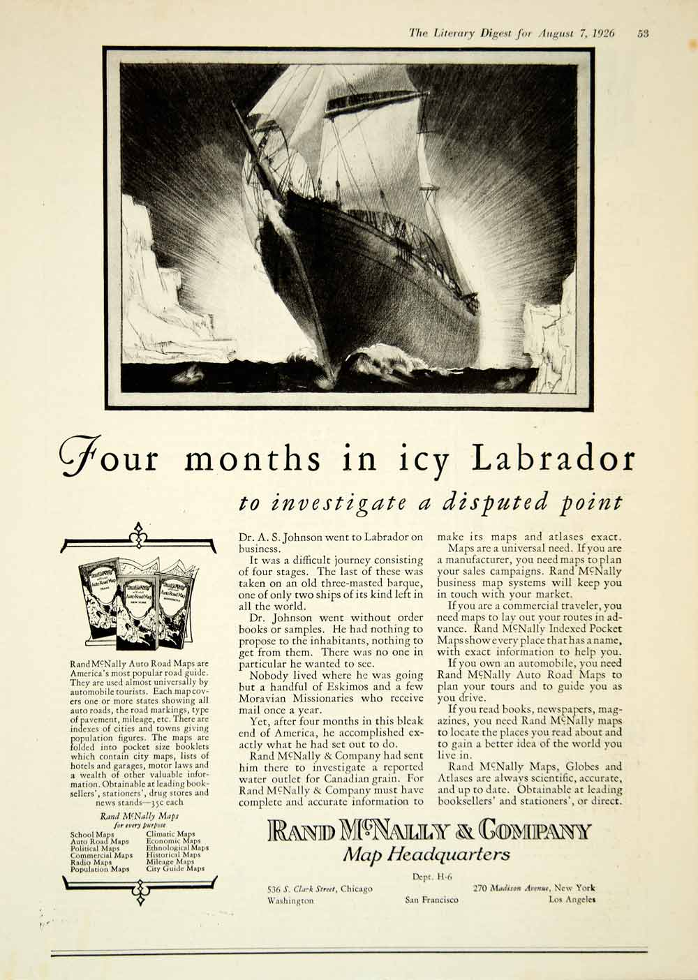1926 Ad Rand McNally Maps Labrador Dr. A. S. Johnson Three-Masted Barque YLD4