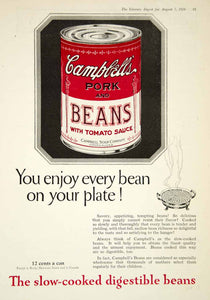 1926 Ad Vintage Campbell's Pork Beans Tomato Sauce Can Canned Slow-Cooked YLD4