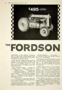1927 Ad Vintage Fordson Tractor Ford Motor Company Farming Industrial YLD4