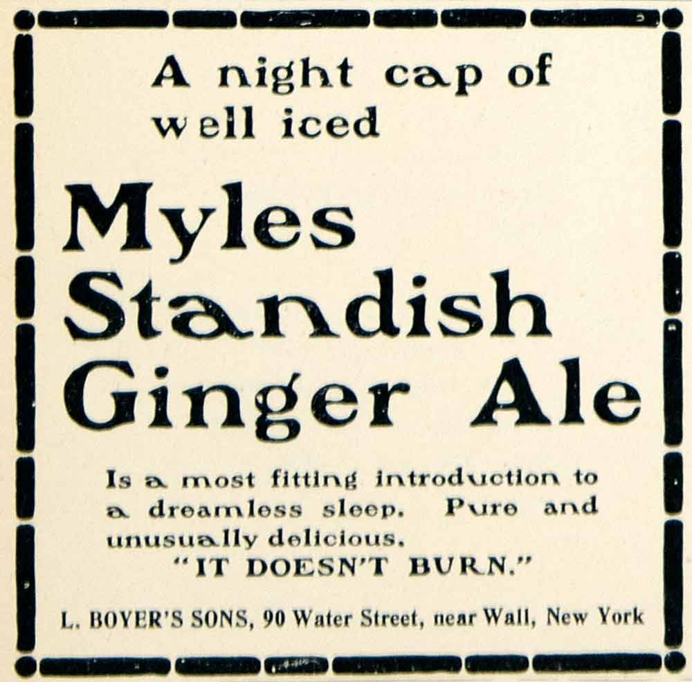 1901 Ad L Boyers Sons Myles Standish Ginger Ale Soda Pop Drink Beverage YLF1