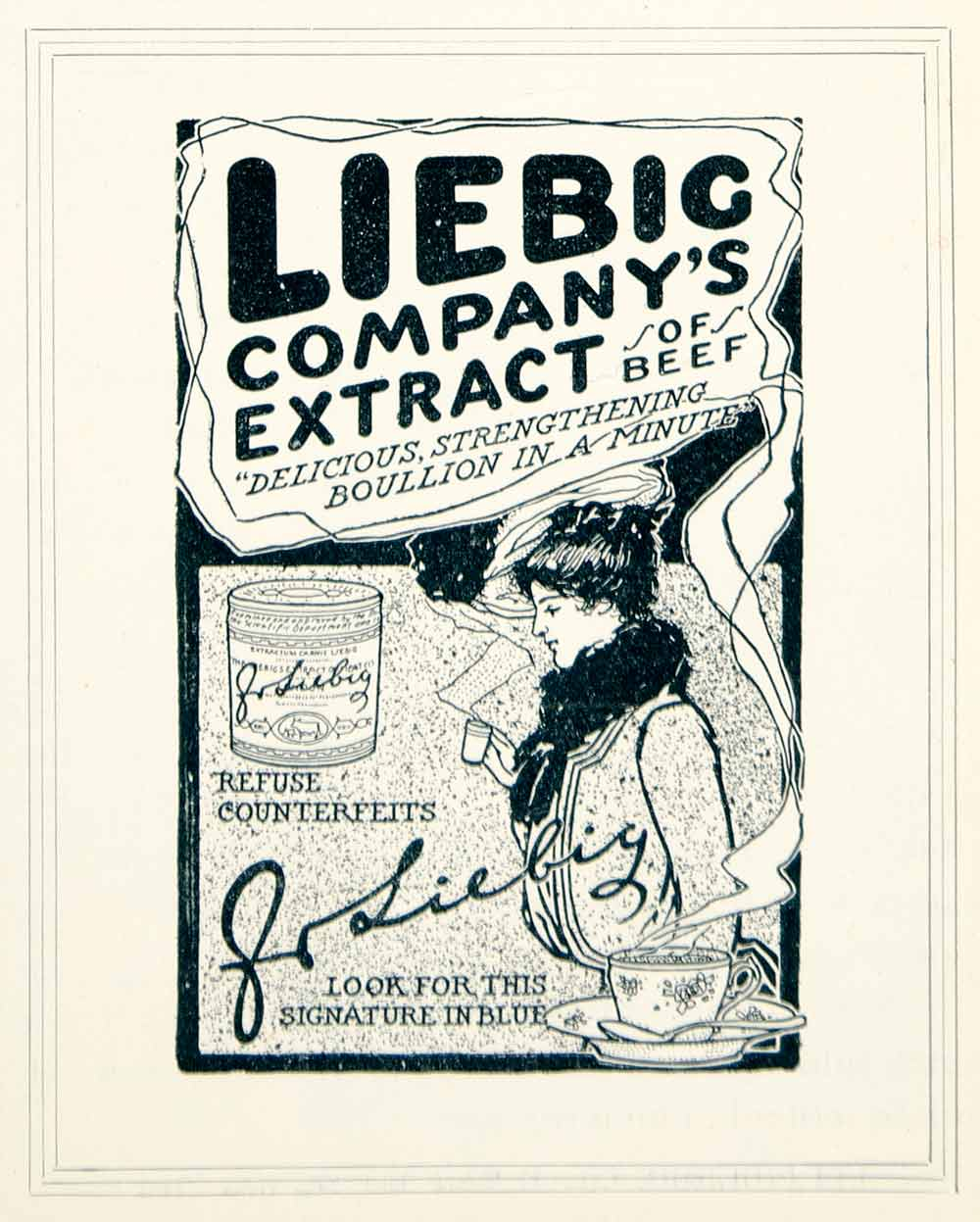 1901 Ad J Liebig Beef Extract Bouillon Food Art Victorian Era Kitchen YLF1