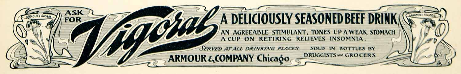 1901 Ad Armour Vigoral Beef Drink Beverage Food Art Nouveau Druggist YLF1